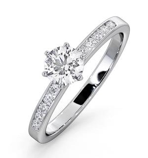 Charlotte GIA Diamond Engagement Side Stone Ring 18KW Gold 0.65CT SI2