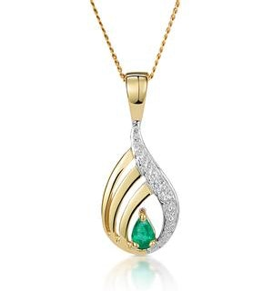 Emerald 4 x 3mm And Diamond 9K Yellow Gold Pendant