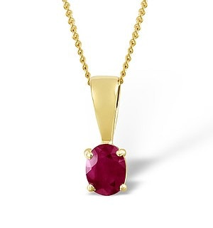 Ruby 5 x 4mm 9K Yellow Gold Pendant