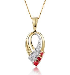 Ruby 2.25mm And Diamond 9K Yellow Gold Pendant