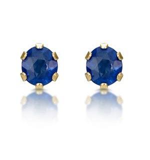Sapphire 3mm 9K Yellow Gold Earrings