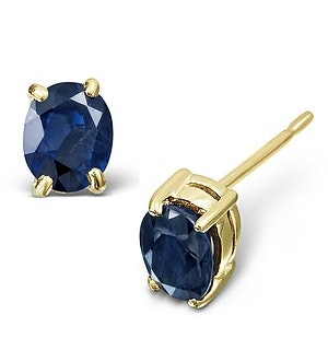 Sapphire 5mm x 4mm 9K Yellow Gold Earrings