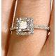 Halo Engagement Ring Ella 18K Gold Diamond Princess Cut 0.82ct SI - image 4