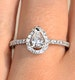 Halo Engagement Ring Ella 0.81ct VS Pear Shape Diamond 18K White Gold - image 4