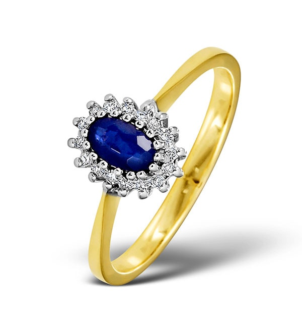 Sapphire 5 x 3mm And Diamond 9K Gold Ring - Size W - image 1