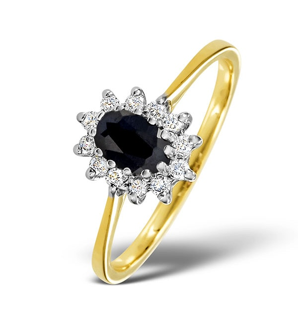 Sapphire 6 x 4mm And Diamond 9K Gold Ring. - image 1