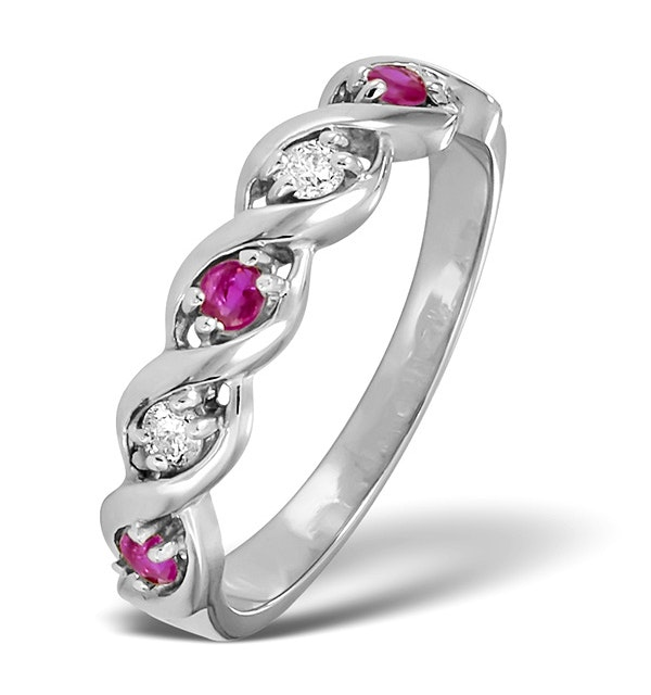 Ruby And Diamond 9K White Gold Ring - Size H - image 1
