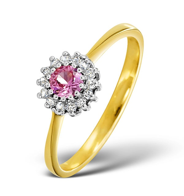Pink Sapphire and 0.07ct Diamond Ring 9K Yellow Gold - image 1