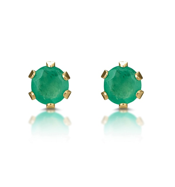 Emerald 3 x 3mm 9K Yellow Gold Earrings - image 1