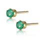 Emerald 3 x 3mm 9K Yellow Gold Earrings - image 2